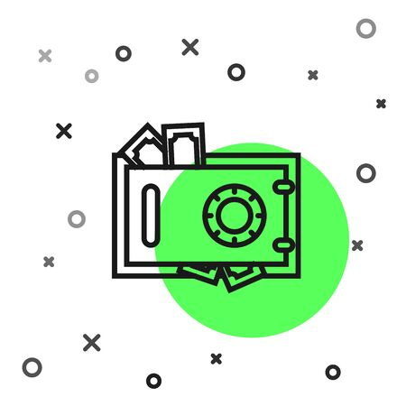 Black line Safe and money icon isolated on white background. The door safe a bank vault with a combination lock. Reliable Data Protection. Vector Illustration