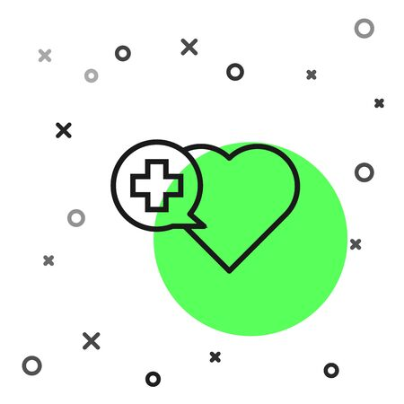 Black line Heart with a cross icon isolated on white background. First aid. Healthcare, medical and pharmacy sign. Vector Illustration