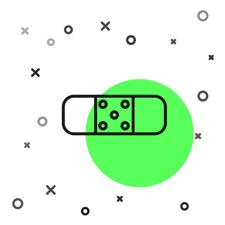 Black line Bandage plaster icon isolated on white background. Medical plaster, adhesive bandage, flexible fabric bandage. Vector Illustration Illustration