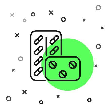 Black line Pills in blister pack icon isolated on white background. Medical drug package for tablet vitamin, antibiotic, aspirin. Vector Illustration