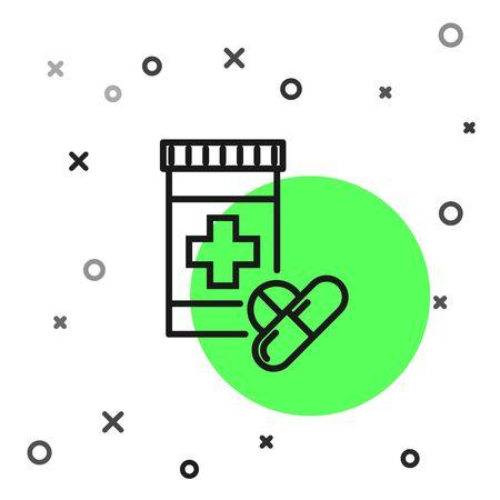 Black line Medicine bottle and pills icon isolated on white background. Bottle pill sign. Pharmacy design. Vector Illustration