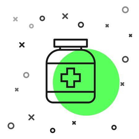 Black line Medicine bottle icon isolated on white background. Bottle pill sign. Pharmacy design. Vector Illustration Illustration