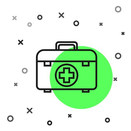 Black line First aid kit icon isolated on white background. Medical box with cross. Medical equipment for emergency. Healthcare concept. Vector Illustration