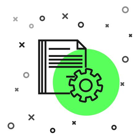 Black line Document settings with gears icon isolated on white background. Software update, transfer protocol, teamwork tool management. Vector Illustration