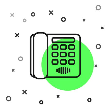 Black line Telephone icon isolated on white background. Landline phone. Vector Illustration