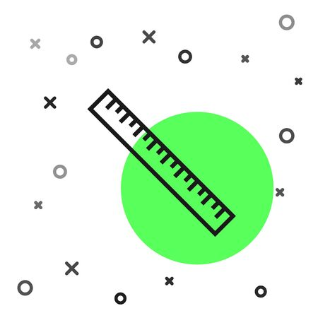 Black line Ruler icon isolated on white background. Straightedge symbol. Vector Illustration