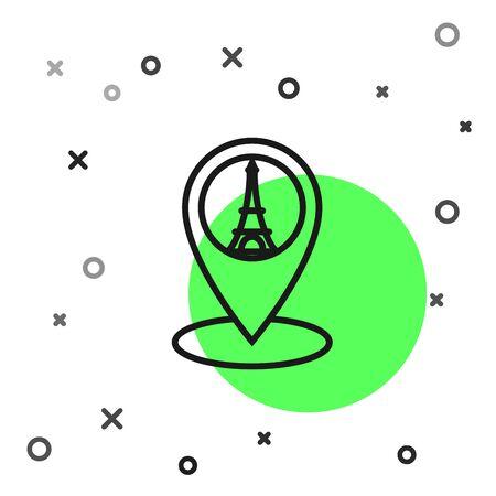 Black line Map pointer with Eiffel tower icon isolated on white background. France Paris landmark symbol. Vector Illustration Illustration