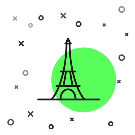 Black line Eiffel tower icon isolated on white background. France Paris landmark symbol. Vector Illustration Ilustracja