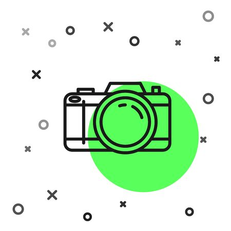 Black line Photo camera icon isolated on white background. Foto camera icon. Vector Illustration Zdjęcie Seryjne - 130819358