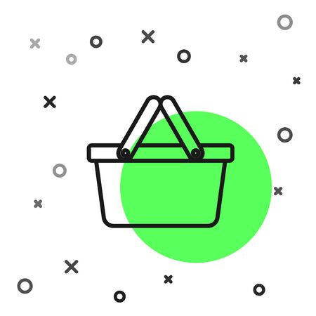 Black line Shopping basket icon isolated on white background. Online buying concept. Delivery service sign. Shopping cart symbol. Vector Illustration Ilustração
