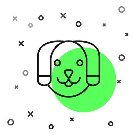 Black line Dog icon isolated on white background. Vector Illustration 일러스트