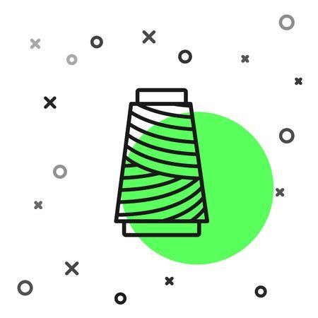 Black line Sewing thread on spool icon isolated on white background. Yarn spool. Thread bobbin. Vector Illustration