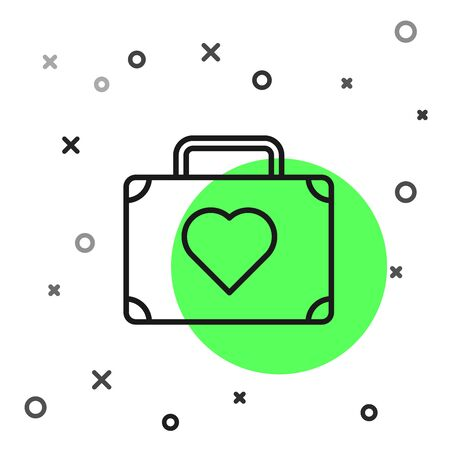 Black line Suitcase for travel with heart icon isolated on white background. Honeymoon symbol. Traveling baggage sign. Travel luggage icon. Vector Illustration