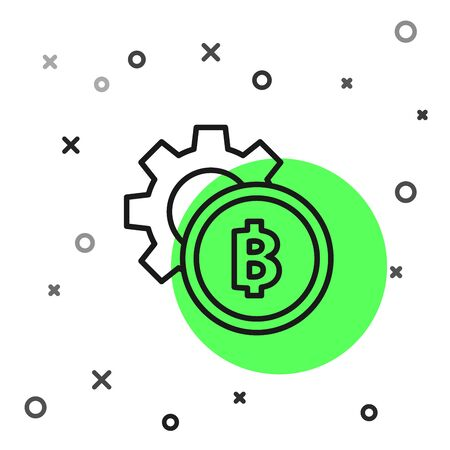 Black line Cryptocurrency coin Bitcoin icon isolated on white background. Gear and Bitcoin setting. Blockchain based secure crypto currency. Vector Illustration