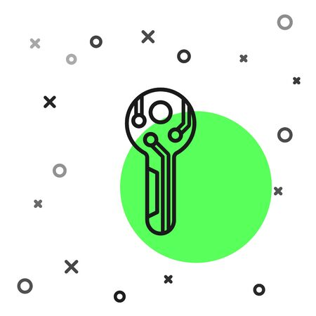 Black line Cryptocurrency key icon isolated on white background. Concept of cyber security or private key, digital key with technology interface. Vector Illustration