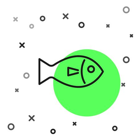 Black line Fish icon isolated on white background. Vector Illustration