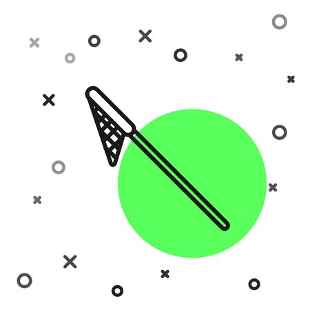 Black line Fishing net icon isolated on white background. Fishing tackle. Vector Illustration