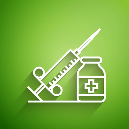 White line Medical syringe with needle and vial or ampoule icon isolated on green background. Vaccination, injection, vaccine, insulin concept. Vector Illustration