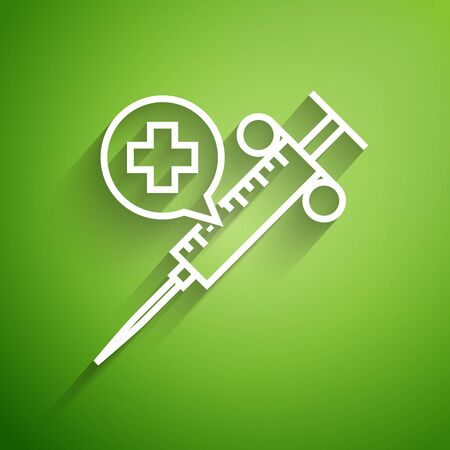 White line Medical syringe with needle icon isolated on green background. Vaccination, injection, vaccine, insulin concept. Vector Illustration