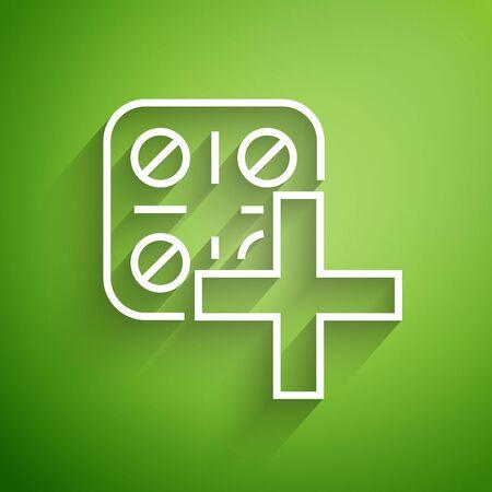 White line Pills in blister pack icon isolated on green background. Medical drug package for tablet vitamin, antibiotic, aspirin. Vector Illustration