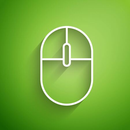 White line Computer mouse icon isolated on green background. Optical with wheel symbol. Vector Illustration