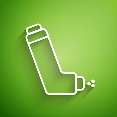 White line Inhaler icon isolated on green background. Breather for cough relief, inhalation, allergic patient. Medical allergy asthma inhaler spray. Vector Illustration
