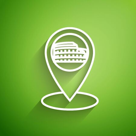 White line Map pointer with Coliseum in Rome, Italy icon isolated on green background. Colosseum sign. Symbol of Ancient Rome, gladiator fights. Vector Illustration