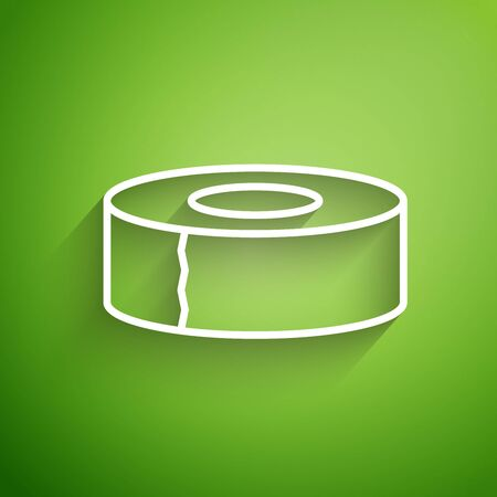 White line Scotch icon isolated on green background. Roll of adhesive tape for work and repair. Sticky packing tape. Office tool and stuff. Vector Illustration Illustration