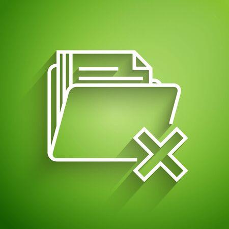 White line Delete folder icon isolated on green background. Folder with recycle bin. Delete or error folder. Close computer information folder. Vector Illustration