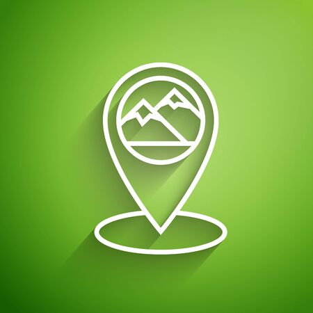 White line Map pointer with mountain icon isolated on green background. Mountains travel icon. Vector Illustration Illustration