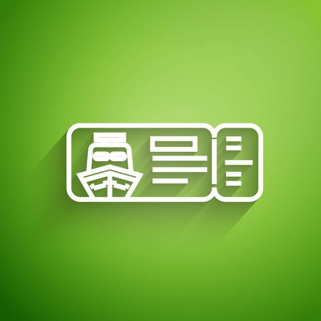 White line Cruise ticket for traveling by ship icon isolated on green background. Travel by Cruise liner. Cruises to Paradise. Vector Illustration Illustration