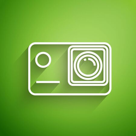 White line Action extreme camera icon isolated on green background. Video camera equipment for filming extreme sports. Vector Illustration