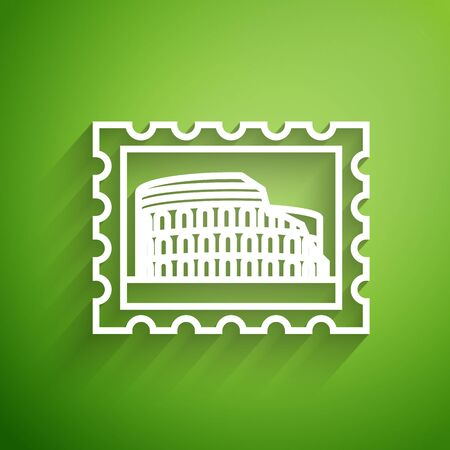 White line Postal stamp and Coliseum icon isolated on green background. Colosseum sign. Symbol of Ancient Rome, gladiator fights. Vector Illustration