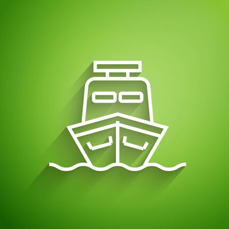 White line Ship icon isolated on green background. Vector Illustration