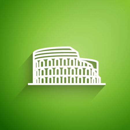 White line Coliseum in Rome, Italy icon isolated on green background. Colosseum sign. Symbol of Ancient Rome, gladiator fights. Vector Illustration