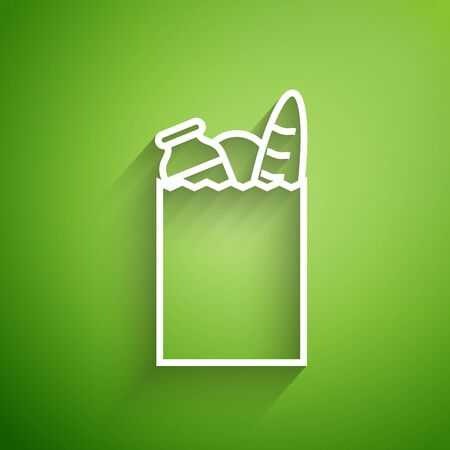 White line Paper shopping bag and food icon isolated on green background. Food store, supermarket. Vector Illustration Illustration