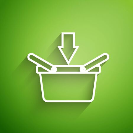 White line Shopping basket icon isolated on green background. Online buying concept. Delivery service sign. Shopping cart symbol. Vector Illustration Illustration