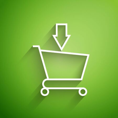 White line Add to Shopping cart icon isolated on green background. Online buying concept. Delivery service sign. Supermarket basket symbol. Vector Illustration