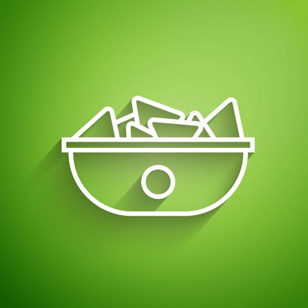 White line Nachos in plate icon isolated on green background. Tortilla chips or nachos tortillas. Traditional mexican fast food menu. Vector Illustration