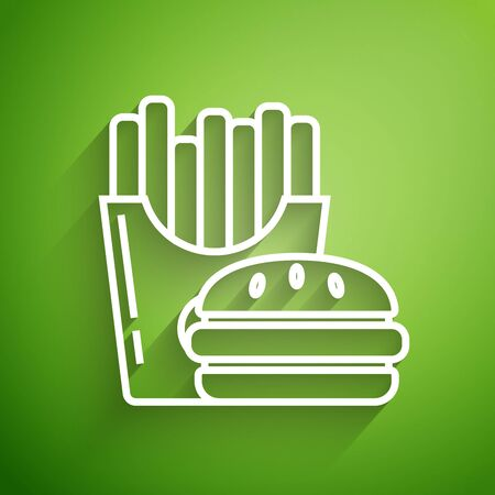 White line Burger and french fries in carton package box icon isolated on green background. Hamburger, cheeseburger sandwich. Fast food menu. Vector Illustration