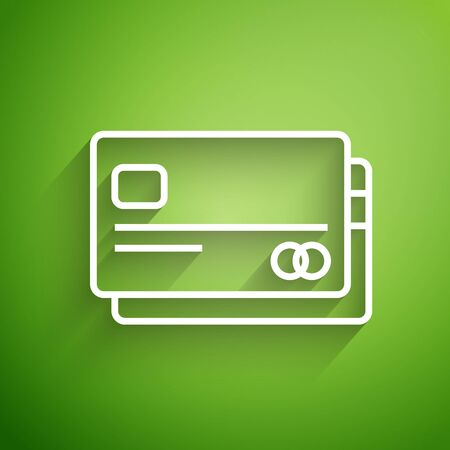 White line Credit card icon isolated on green background. Online payment. Cash withdrawal. Financial operations. Shopping sign. Vector Illustration