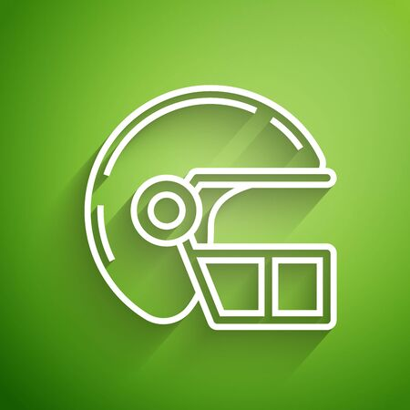White line American football helmet icon isolated on green background. Vector Illustration Banque d'images - 130899330