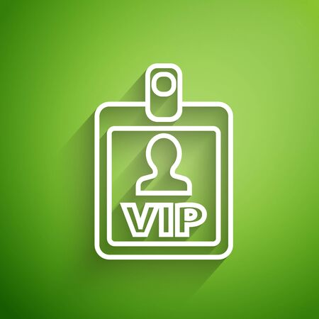 White line VIP badge icon isolated on green background. Vector Illustration Çizim
