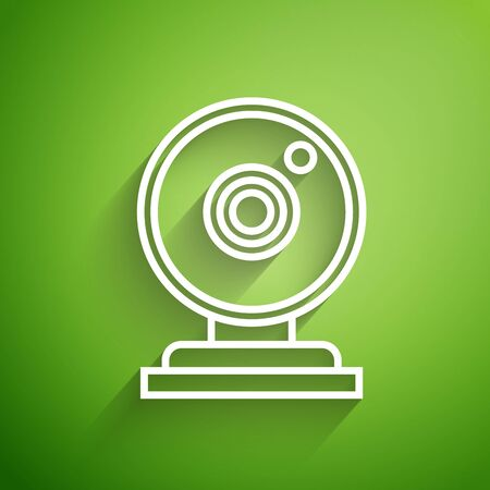 White line Web camera icon isolated on green background. Chat camera. Webcam icon. Vector Illustration
