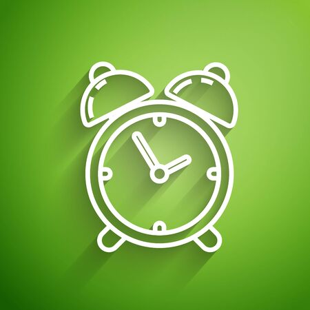 White line Alarm clock icon isolated on green background. Wake up, get up concept. Time sign. Vector Illustration Illustration