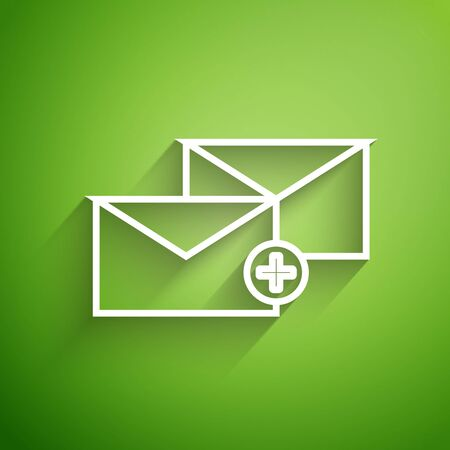 White line Envelope icon isolated on green background. Received message concept. New, email incoming message, sms. Mail delivery service. Vector Illustration Vector Illustratie