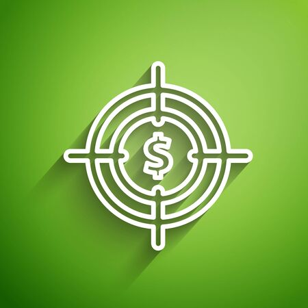 White line Target with dollar symbol icon isolated on green background. Investment target icon. Successful business concept. Cash or Money sign. Vector Illustration Иллюстрация