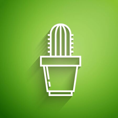 White line Cactus and succulent in pot icon isolated on green background. Plant growing in a pot. Potted plant sign. Vector Illustration
