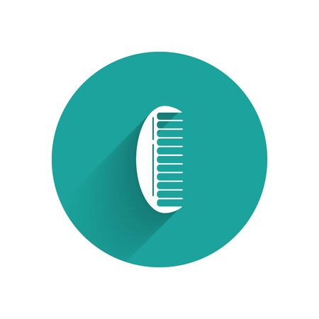 White Hairbrush icon isolated with long shadow. Comb hair sign. Barber symbol. Green circle button. Vector Illustration