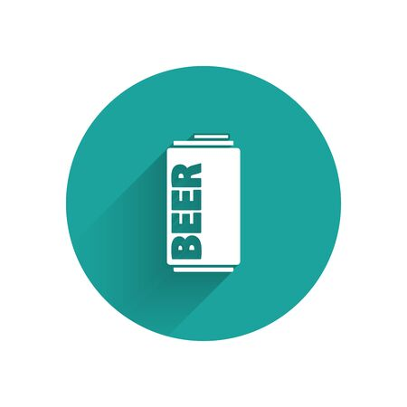 White Beer can icon isolated with long shadow. Green circle button. Vector Illustration
